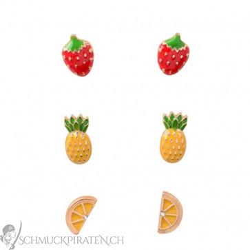 ohrringe set fruits ananas erdbeere orange. Black Bedroom Furniture Sets. Home Design Ideas