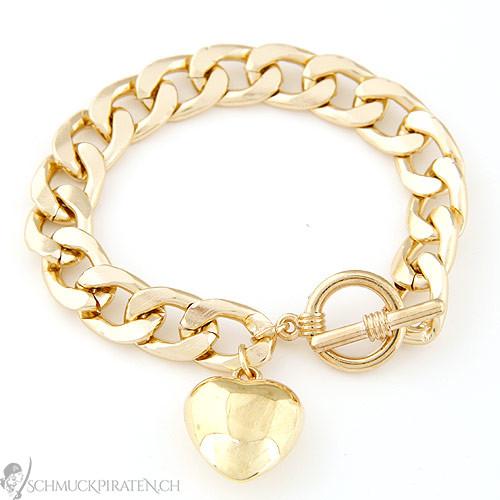armband f r damen goldenes herz in gold. Black Bedroom Furniture Sets. Home Design Ideas
