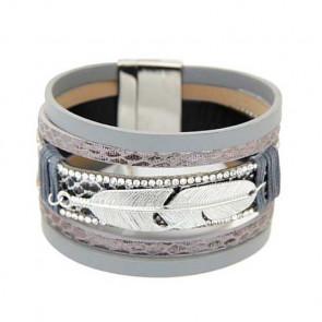 Breites Damen Armband in grau und silber mit Feder-Bild 1