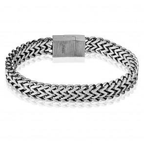 Herren Edelstahl Armband breit in silber