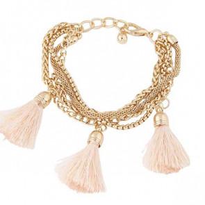 Tassel Armband in gold mit rosa Quasten-Bild 1