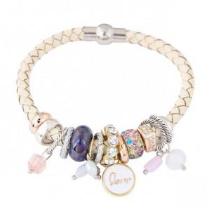 Charm Armband Pandora Lookalike mit weissem Band