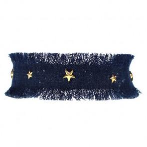 Denim Choker Kette mit goldenen Sternen-Bild 1