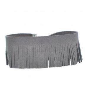 Enganliegende Kette mit Fransen in grau-Bild 1