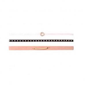Choker Ketten Set 3-teilig in rosa, schwarz und weiss-Bild 1