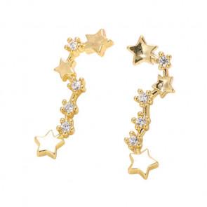 Sterne Ear Crawler in gold mit Strass-Bild 1