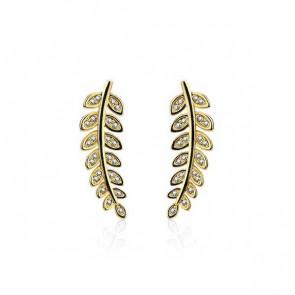 Blatt Ear Crawler in gold mit Strass - Bild 1