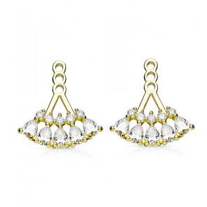 Ear Jackets in gold mit zwei Reihen Kristallsteine-Bild 1