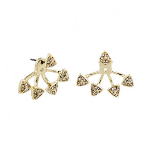 Damen Ear Jackets in gold mit Dreiecken und Strass-Bild 1