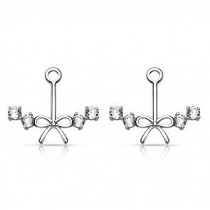 Ear Jacket Ohrringe in silber mit Schleife und Kristallsteinen-Bild 1