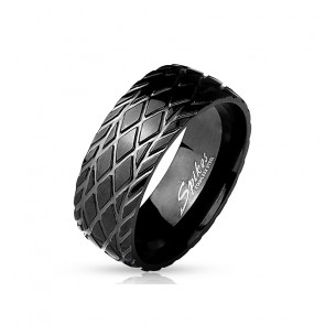 Herren Edelstahl Ring in schwarz mit Muster
