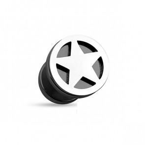 Fake Plugs in schwarz mit silbernem Stern-Bild 1
