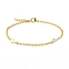Filigrane Fusskette in gold mit Love Zeichen und Herz-Bild 1
