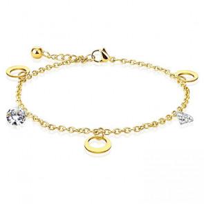 Edelstahl Fusskette in gold mit Kreisen und Kristallsteinen-Bild 1