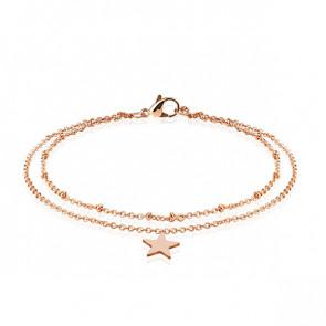 Edelstahl Fusskette in roségold mit Sternen-Bild 1