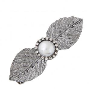 Haarspange in silber mit Blättern und weisser Perle