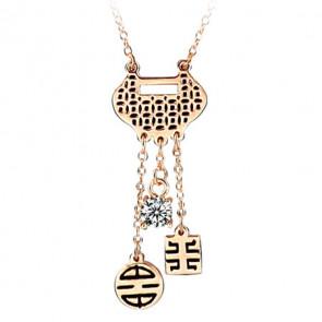 Damen Halskette kurz in gold mit Anhänger in gold-schwarz-Bild 1