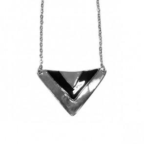 Damen Kette in silber mit Dreieck Anhänger in silber & schwarz-Bild 1