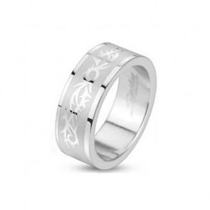 Herren Edelstahl Ring in silber mit Tribal Design