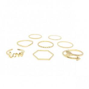 Ring Set in gold mit Love und Pfeil Ring-Bild 1