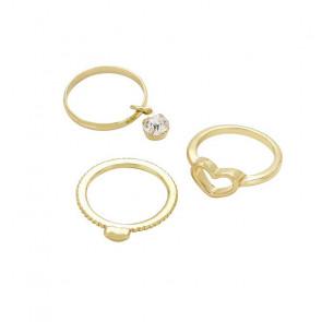 Midi Ring 3er Set in gold mit Herzen und Stein-Bild 1