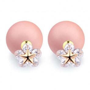 Damen Doppelperlen Ohrringe mit Stern und Zirkonia Stein in weiss-Bild 1