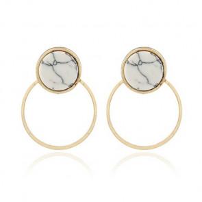 Ear Jacket Ohrringe Kreise marmoriert und gold - Bild 1