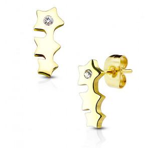 Ohrstecker in gold mit Stein und drei Sternen