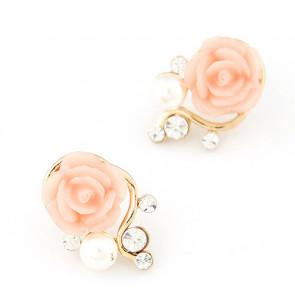 Damen Ohrstecker in gold mit rosa Rose und Perle-Bild 1