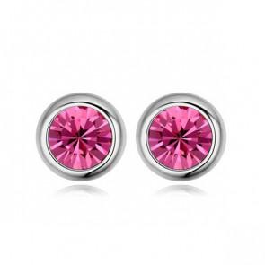 Elegante Ohrstecker in silber mit rosa Stein