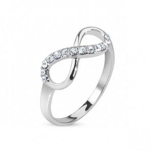 Damen Ring in silber mit Infinity Zeichen und Strass