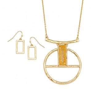 Schmuckset aus Kette und Ohrhängern in gold-Bild 1