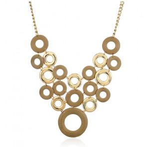 Statementkette für Damen Kreise in gold und braun-Bild 1