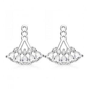 Ear Jackets in silber mit zwei Reihen Kristallsteine-Bild 1